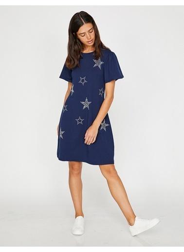 Koton Yıldız Desenli Elbise Saks